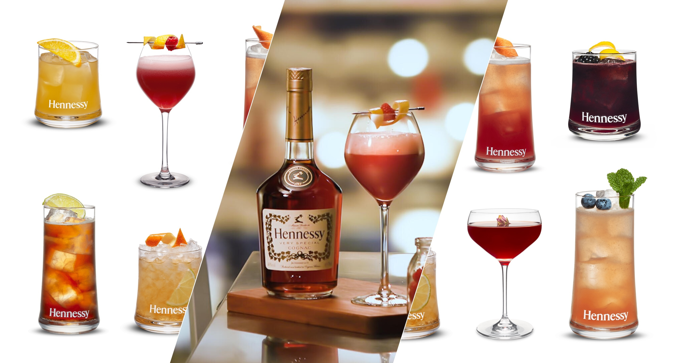 Collection of easy Hennessy cognac cocktails for spring